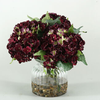 Artificial Hydrangeas in Ribbed Glass Vase